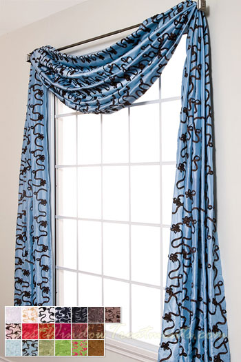 Bliss Ribbon Scarf Swag Window Topper Available In 19 Colors