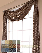 Diva Diamond Semi Sheer Scarf Swag Window Topper available in 15 colors