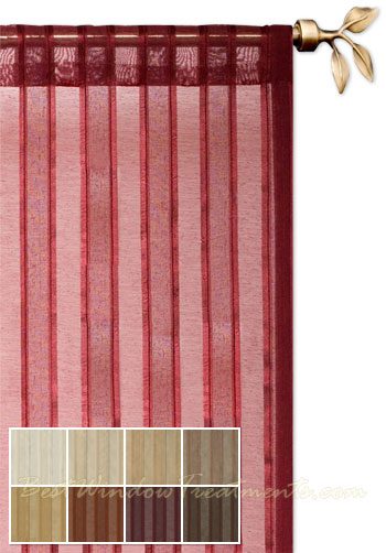 leno stripe sheer curtain panel - Sheer Curtain Panels
