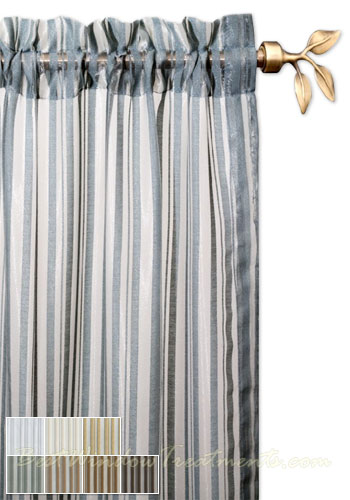 Palazzo Stripe Semi Sheer Curtain Panel Available In Color Choices
