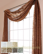 Palazzo Medallion Semi-Sheer Scarf Swag Window Topper available in 7 color choices