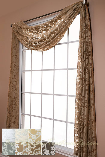 Palazzo Scroll Semi-Sheer Scarf Swag Window Topper available in 7 ...