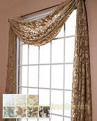 Palazzo Scroll Semi-Sheer Scarf Swag Window Topper available in 7 color choices