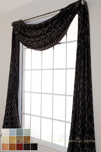 Black curtain scarf