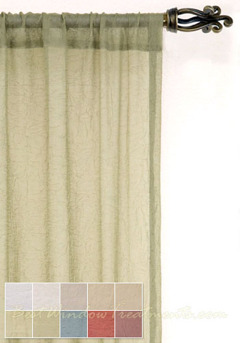 Voile Crushed Semi Sheer Curtain Panel Available In 11 Colors