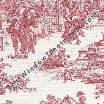 victrian toile fabric in red