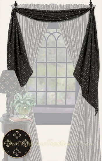 Country Fishtail Swag Curtains - Country Decor, PrimitiveDecor