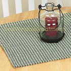 Country Lane Gingham Table Runner in Sage, Barn Red and Black