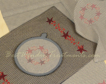 Embroidered Star Navy Check Placemat