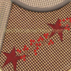 Embroidered Star Burgundy Check Table Runner