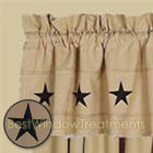Embroidered Stars Valance in Nutmeg