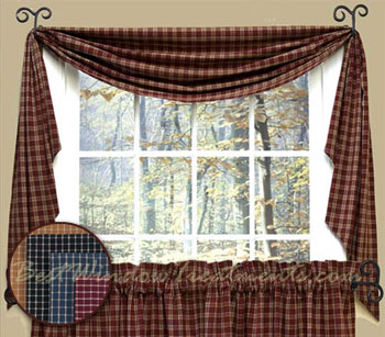 fishtail plaid rooster curtains swag - ShopWiki