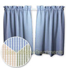 Dublin Stripe Semi-Sheer Tier Curtains available in Sage, Blue and Sand