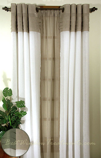 Geneva Curtain Panels In Linen Ivory Butterscotch Custard