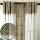 Geneva Curtain Panels in Linen/Ivory, Butterscotch/Custard and Olive/Linen