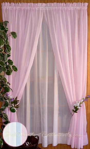 Sea Glass Curtain Panel In Natural White Blue And Pink