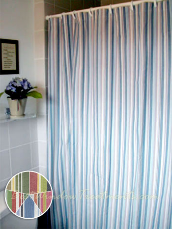 teal striped shower curtain.  Cottage Stripe Shower Curtain available in 2 colors