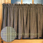 Potpourri Plaid and Floral Tier Curtains in Wedgewood Blue, Amethyst and Multi/Sage colors