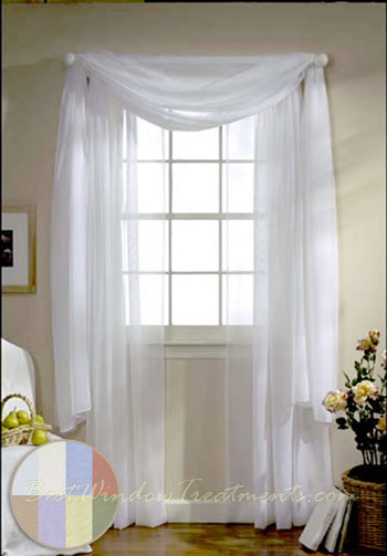 Turtle Bay Voile Curtain Panel Available In White, Ivory, Sky Blue,  Lemonade And