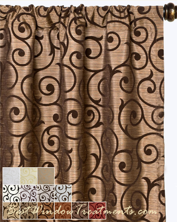 Serafina scroll scarf swag window topper available in 13 for Window scroll