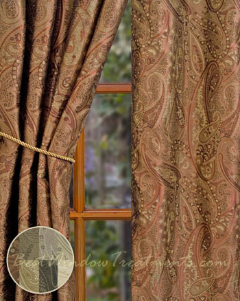 Vanderbilt Paisley Jacquard Curtain Panel in 7 color choices