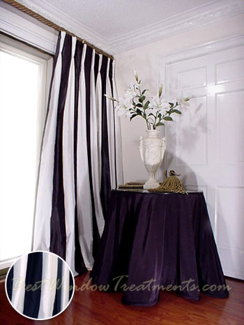 Curtains Ideas black and white panel curtains : Thai Silk Pleated Draperies in Two-tone White and Black ...