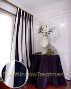 Thai Silk Pleated Drapery Curtain Panel in Two-tone  White and Black