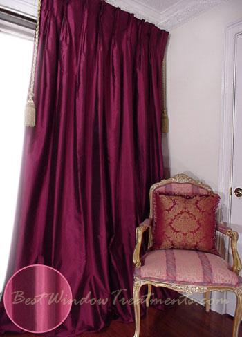 Thai Silk Pleated Drapery Curtain Panel in Rich Eggplant