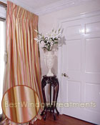 Thai Silk Pleated Drapery Curtain Panel in Two-tone Stripes Pink/Yellow