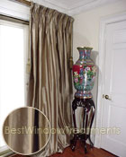 Thai Silk Pleated Drapery Curtain Panel in Taupe Silk