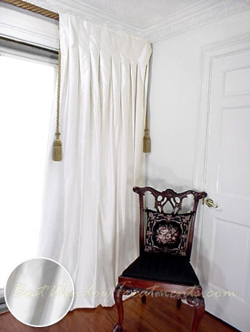 thai silk pleated drapery curtain panel in winter white