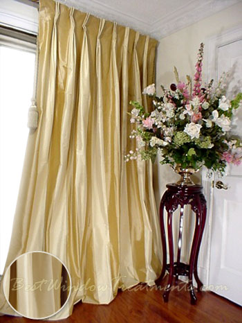 Thai Silk Pleated Drapery Curtain Panel In Two Tone Solid Gold And Ivory