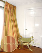 Thai Silk Pleated Drapery Curtain Panel in Stripes of Sunshine