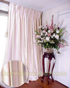 Thai Silk Pleated Drapery Curtain Panel in Two-tone Pale Pink and Ivory