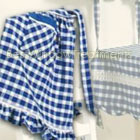 Classic Checks Blue Half Apron (set of 3)