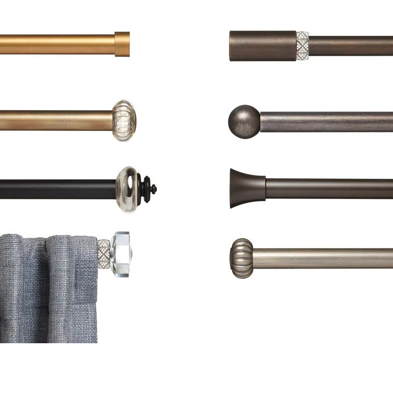 Decorative traverse curtain rods