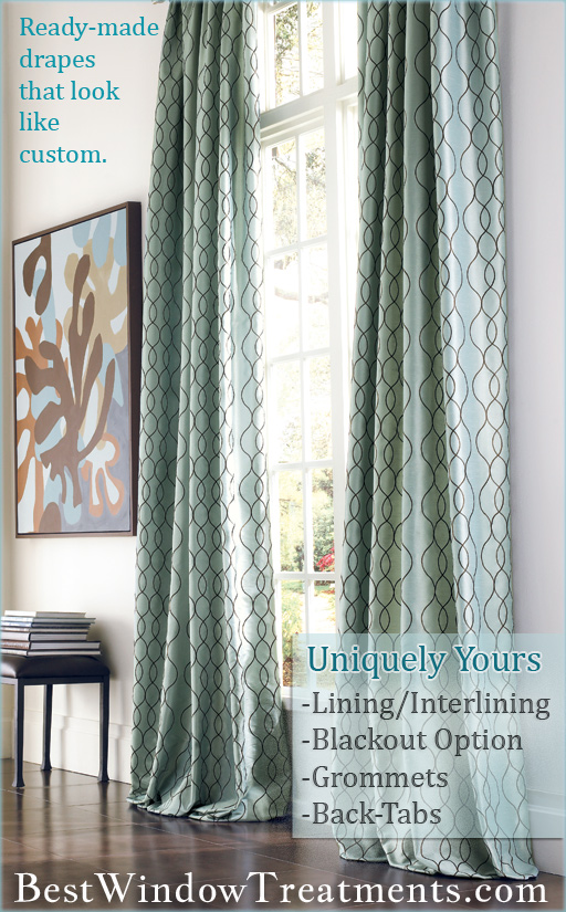 Ready-made Drapes that look like Custom Curtains : Blackout/Lining/Interlining Option
