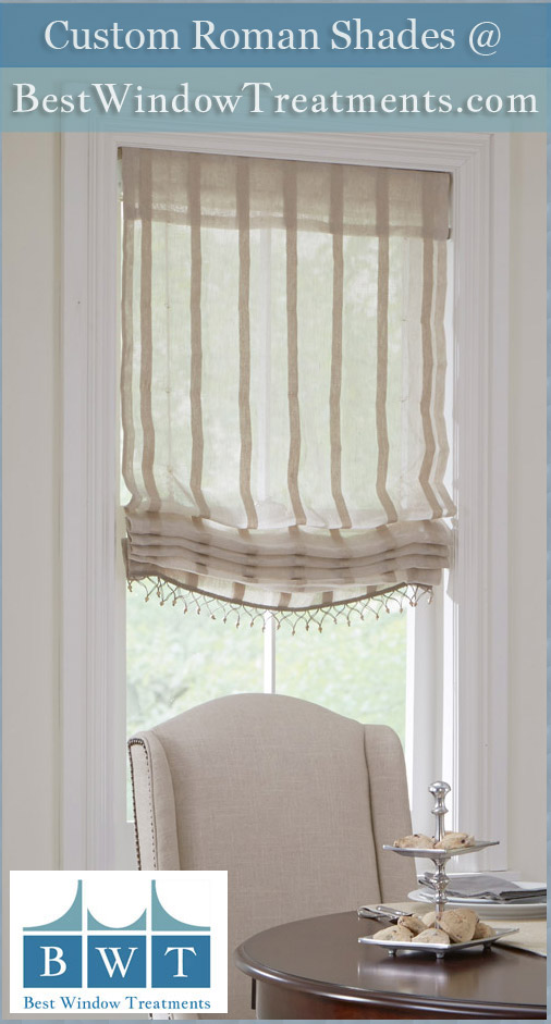 Custom Fabric Roman Shades Amp Rollup Blinds