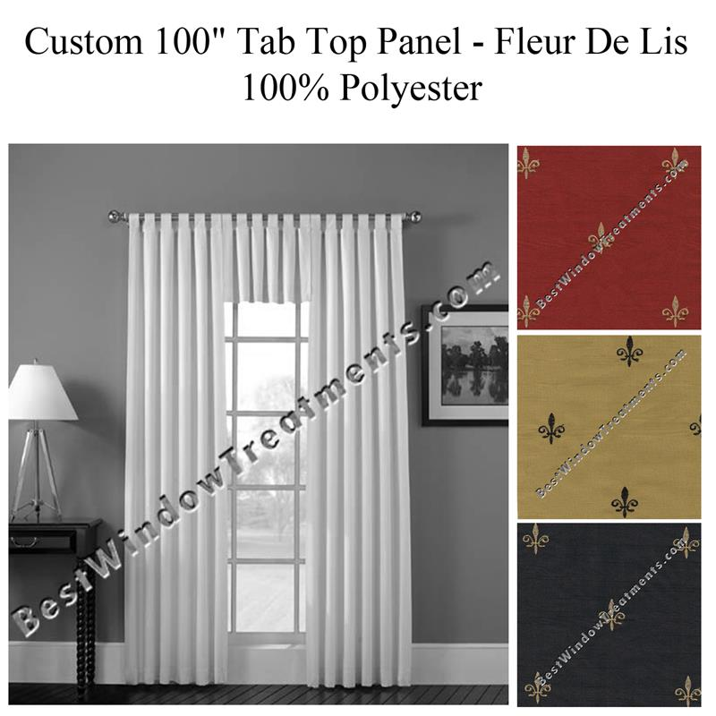 Custom 100 Wide Tab Top Curtain Panel Fleur De Lis