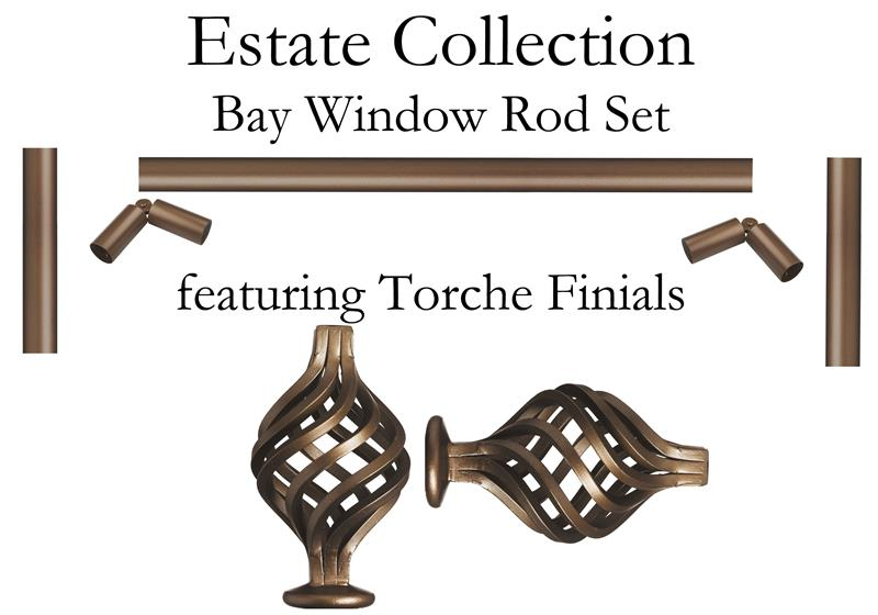 Custom bay window 1 iron curtain rod featuring torche finials - Custom iron curtain rods ...