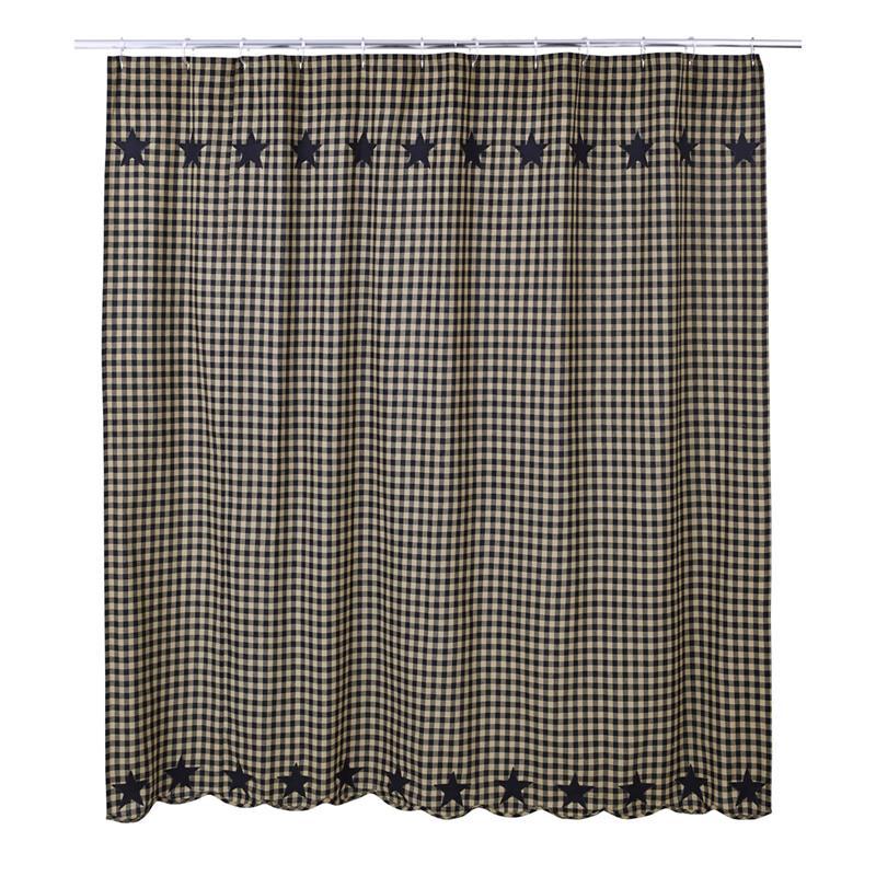 black check star shower curtain