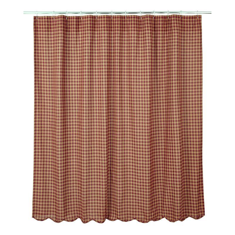 Burgundy Check Shower Curtains