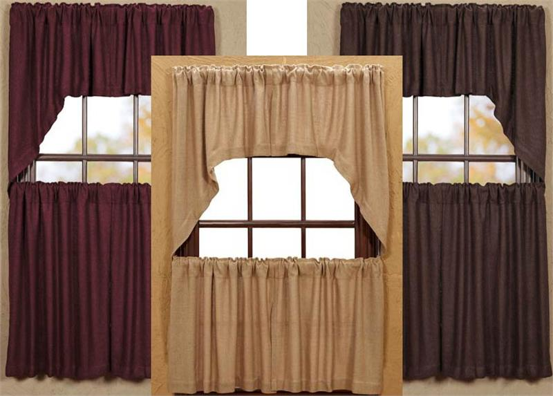 Soft Burlap Tier Curtains In 3 Colors