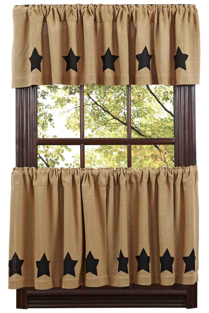 Burlap Black Star Tier Curtains Tier Curtains Www