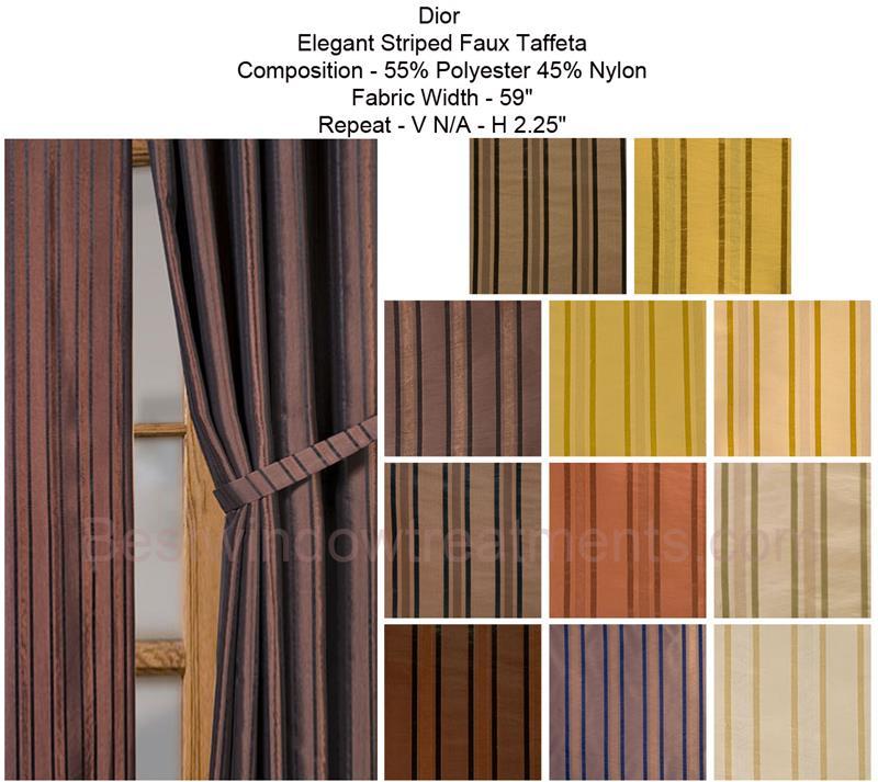 Dior Striped Faux Silk Curtain Drapery Panels