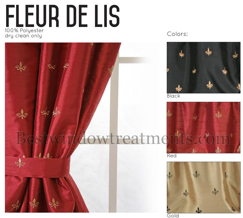 Custom 100 Wide Tailored Curtain Panel Fleur De Lis