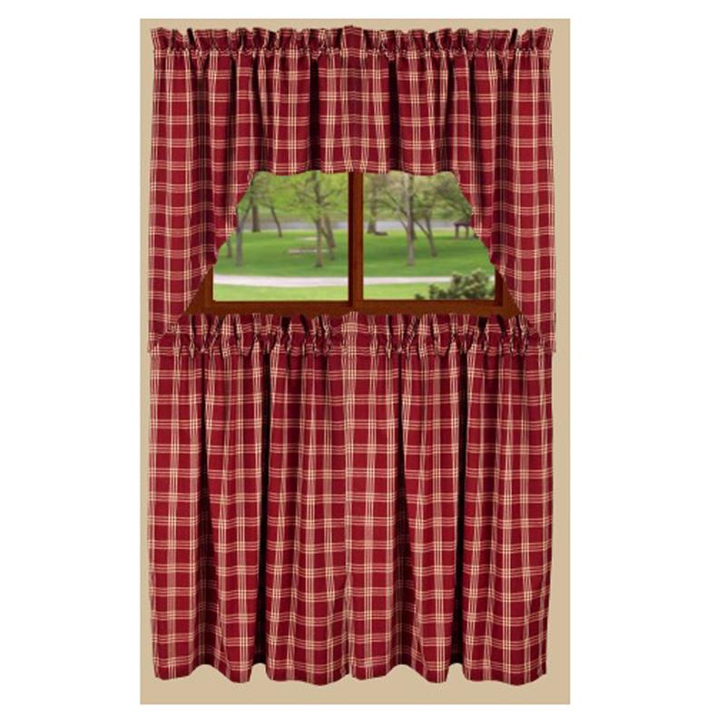 Middletown check tier curtain barn red
