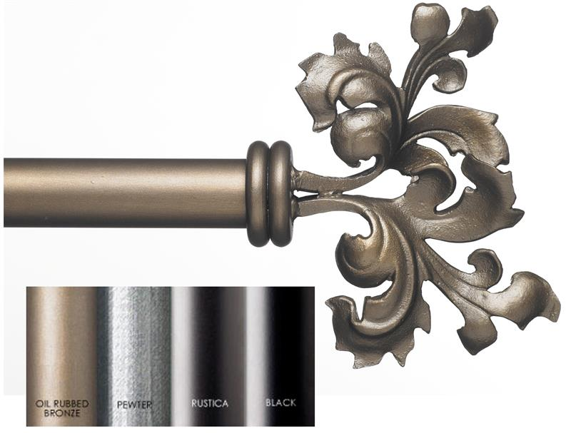 Custom 1 5 estate iron curtain rod in 4 finishes double scroll leaf - Custom iron curtain rods ...