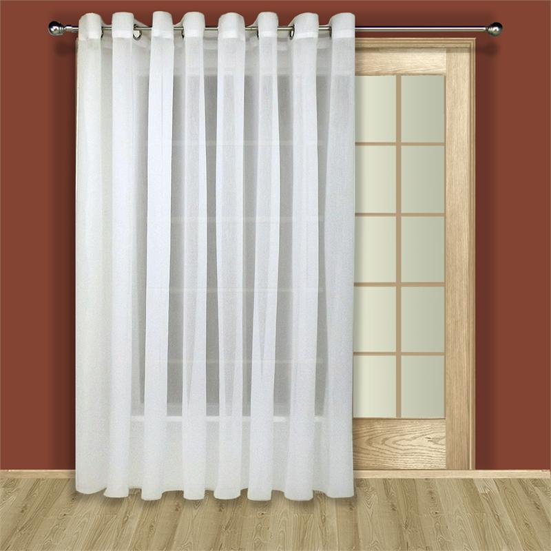 Tergaline sheer curtain panel in ivory or white for Double width curtain lining