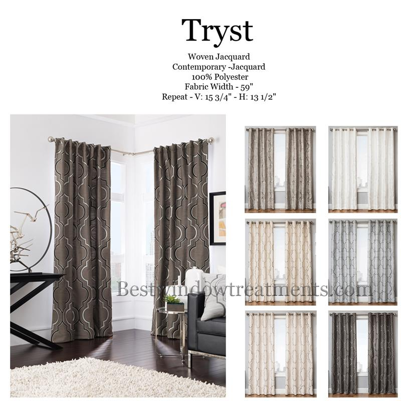 Tryst Curtain Panel In A Quatrefoil Moroccan Tile Design